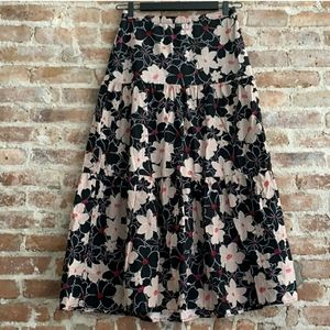 🌞 WHO WHAT WEAR FLORAL COTTON TIERED MAXI SKIRT